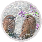 Wren Bird Sweethearts Round Beach Towel