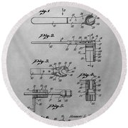 Wrench Patent Drawing Round Beach Towel