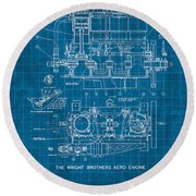 Wright Brothers Aero Engine Vintage Patent Blueprint Round Beach Towel