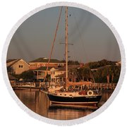 Wrightsville Beach Boat In Harbor Round Beach Towel