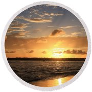 Wrightsville Beach Sunset Round Beach Towel