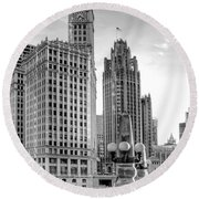 Wrigley And Tribune Round Beach Towel by Scott Norris