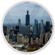 Wrigley And Us Cellular Fields Chicago Baseball Parks 3 Panel Composite 01 Round Beach Towel by Thomas Woolworth