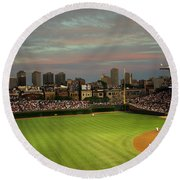 Wrigley Field At Dusk Round Beach Towel by John Gaffen
