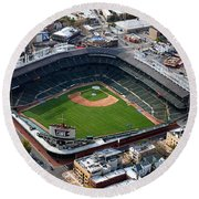 Wrigley Field Chicago Sports 02 Round Beach Towel by Thomas Woolworth