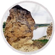Writing-on-stone Provincial Parks Round Beach Towel