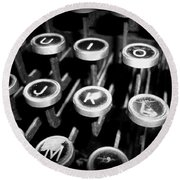 Writing The Great Novel - Black And White Round Beach Towel