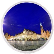 Wroclaw Poland Historical Market Square And The Town Hall Round Beach Towel