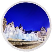 Wroclaw Poland The Market Square And The Famous Fountain At Night Round Beach Towel