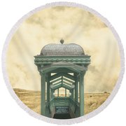 Wrong Train Right Station Round Beach Towel