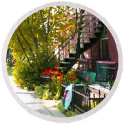 Wrought Iron Fence Balcony And Staircases Verdun Stairs Summer Scenes Carole Spandau  Round Beach Towel