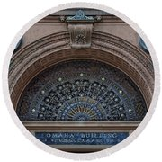 Wrought Iron Grille - The Omaha Building Round Beach Towel