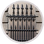 Wrought Iron Window Grille Round Beach Towel