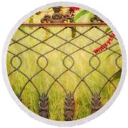 Wrought Iron With Red And Green Round Beach Towel