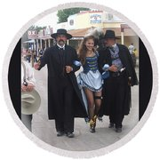 Wyatt Earp  Doc Holliday Escort  Woman  With O.k. Corral In  Background 2004 Round Beach Towel