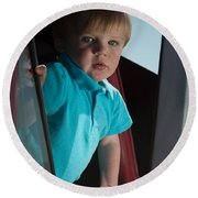 Wyatt Portrait 3 Round Beach Towel