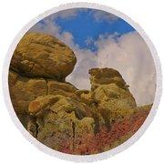 Wyoming Badlands Rock Detail Two Round Beach Towel