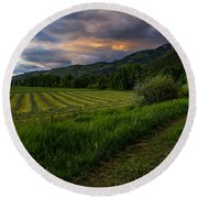 Wyoming Pastures Round Beach Towel