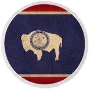 Wyoming State Flag Art On Worn Canvas Round Beach Towel