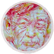 Wystan Auden  Watercolor Portrait Round Beach Towel