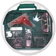 X-ray Of A Briefcase With A Gun Round Beach Towel