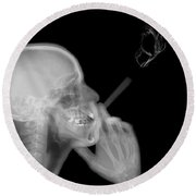 X-ray Of A Man Smoking A Cigarette  Round Beach Towel