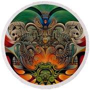 Xiuhcoatl The Fire Serpent Round Beach Towel