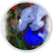 Xmas Elephant Ornament Photo Art 02 Round Beach Towel