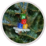 Xmas Noel Ornament Photo Art 01 Round Beach Towel