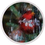 Xmas Red Ornament Photo Art 03 Round Beach Towel
