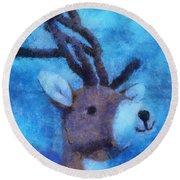 Xmas Reindeer 01 Photo Art Round Beach Towel