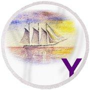 Y Art Alphabet For Kids Room Round Beach Towel by Irina Sztukowski