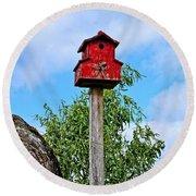 Yachats Red Birdhouse Round Beach Towel