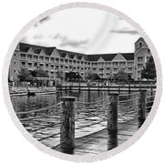 Yacht And Beach Club After The Rain In Black And White Walt Disney World Round Beach Towel