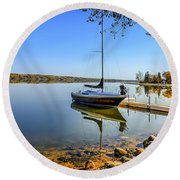 Yacht At The Little Manitou Lake Round Beach Towel