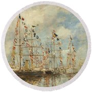 Yacht Basin At Trouville Deauville Round Beach Towel