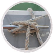 Yacht Secured To A Jetty  Round Beach Towel