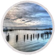 Yacht Storming Morning Round Beach Towel