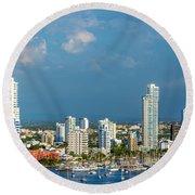 Yachts And Modern Cartagena Round Beach Towel