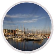 Yachts In A Marina At Sunset Round Beach Towel