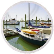 Yachts In A Port 1 Round Beach Towel