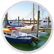 Yachts In A Port 4 Round Beach Towel
