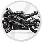 Yamaha R6 Supersport Motorcycle Round Beach Towel