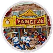 Yangtze Restaurant With Van Horne Bagel And Hockey Round Beach Towel by Carole Spandau