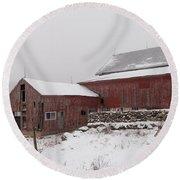 Yankee Farmlands No 19 - Winter Snow And New England Barn Round Beach Towel
