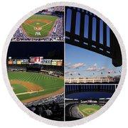 Yankee Stadium Collage Round Beach Towel by Allen Beatty