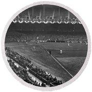 Yankee Stadium Game Round Beach Towel by Underwood Archives