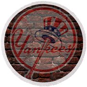 Yankees Baseball Graffiti On Brick  Round Beach Towel by Movie Poster Prints