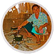 Yao Mien Tribe Man In His Home With His Cooking Pot North Of Chiang Rai In Mae Salong-thailand  Round Beach Towel