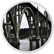 Yaquina Bay Bridge - Series J Round Beach Towel